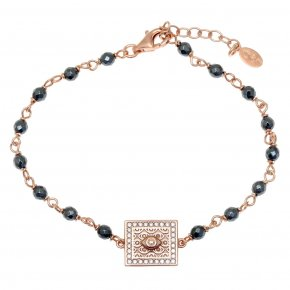 Bracelet silver 925 pink gold plated & with white zirconia - Apocalypse