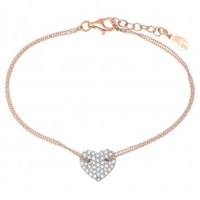 Bracelet silver 925 pink gold plated & with white zirconia - LAMPSIS