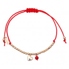 Bracelet silver 925 pink gold plated & with coral with cord - Sirens