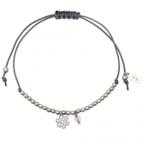 Bracelet silver 925 rhodium plated with synth.stones and cord - Sirens