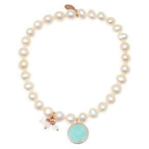 Bracelet silver 925 pink gold plated & with fresh water pearls and amazonite - Petra