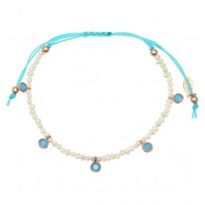 Bracelet silver 925 pink gold plated & with fresh water pearl and blue zirconia with cord - Chromata