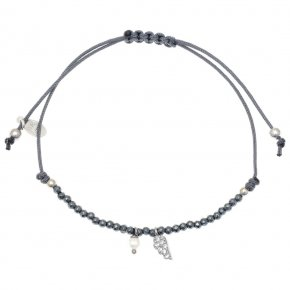 Bracelet silver 925 rhodium plated & with hematite with cord - Sirens