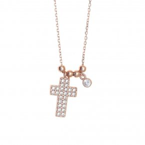 Necklace silver 925 pink gold plated & with white zirconia - Simply Me