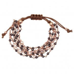 Bracelet metal pink gold plated with synthetic stones - Aigaio