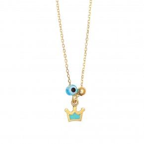 Necklace silver 925 gold plated & with enamel, evil eye and white zircon - Genesis Jewellery