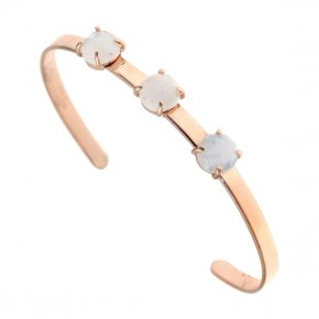 Bracelet silver 925 pink gold plated & with moonstone - Aura