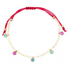 Bracelet silver 925 pink gold plated & with fresh water pearl and colored zirconia with cord - Chromata