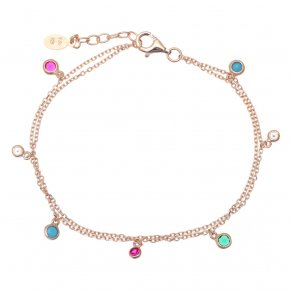 Bracelet silver 925 pink gold plated & with zirconia - Chromata