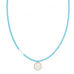 Necklace silver 925 pink gold plated with gem stones - Petra