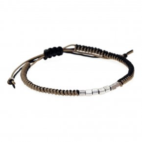 Bracelet silver 925 rhodium plated with cord - My Man