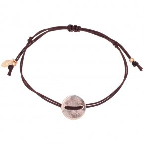Bracelet silver 925 pink gold plated with cord - LAMPSIS