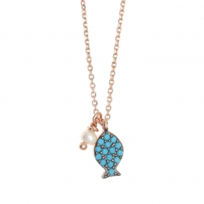 Necklace silver 925 pink gold plated & with zirconia - Sirens