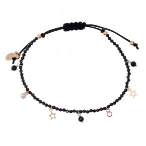 Bracelet silver 925 pink gold plated & with onyx and white zirconia with cord - Simply Me