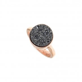 Ring silver 925 pink gold plated & with agate - Color Me