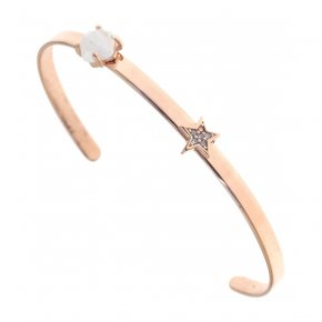 Bracelet silver 925 pink gold plated & with moonstone and white zirconia - Aura