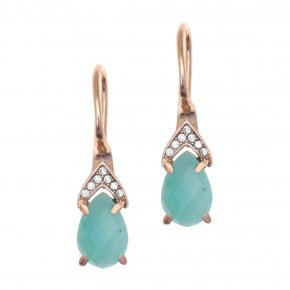 Earrings silver 925 pink gold plated & with amazonite and white zirconia - Nymfes