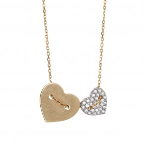 Necklace silver 925 yellow gold plated with white zirconia - LAMPSIS