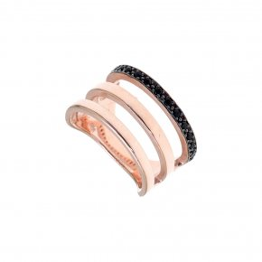 Ring silver 925 pink gold plated & with black spinels - Aura