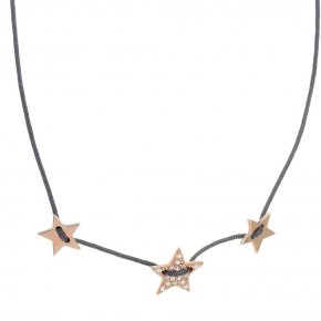 Necklace silver 925 pink gold plated & with white zirconia with cord - LAMPSIS