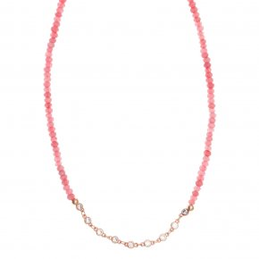 Necklace metal pink gold plated with synthetic stones - Aigaio