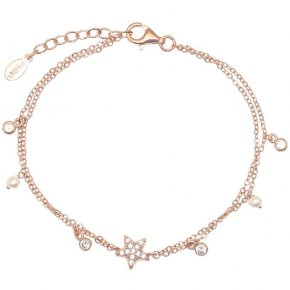 Bracelet silver 925 rose gold plating with white zirconia - Symbola