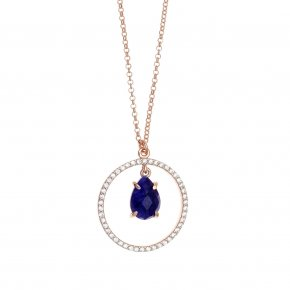 Necklace silver 925 pink gold plated & with treated sapphire and white zirconia - Nymfes