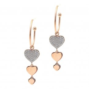 Earrings silver 925 pink gold plated & with white zirconia - LAMPSIS