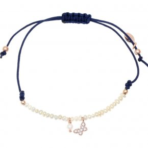 Bracelet silver 925 pink gold plated & with fresh water pearl with cord - Sirens
