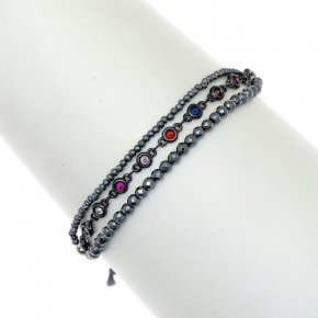 Bracelet metal rhodium plated with synth.stones and cord - Aigaio