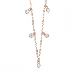 Necklace silver 925 pink gold plated & with zirconia - Chromata