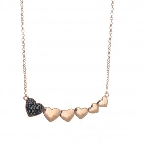 Necklace silver 925 pink gold plated & with black spinels - Emfasis