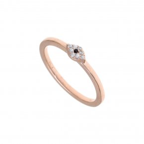 Ring silver 925 pink gold plated & with white zirconia - Genesis Jewellery