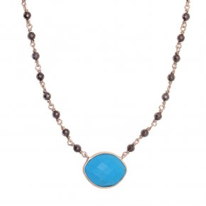 Necklace silver 925 pink gold plated & with hematite and turqoise - Petra