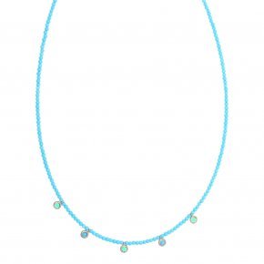 Necklace silver 925 pink gold plated & with turqoise and blue zirconia - Chromata