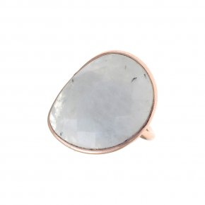 Ring silver 925 pink gold plated & with moonstone - Petra