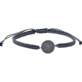 Bracelet silver 925 black rhodium plated and cord - My Man