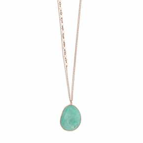 Necklace silver 925 pink gold plated & with fresh water pearls and amazonite - Petra