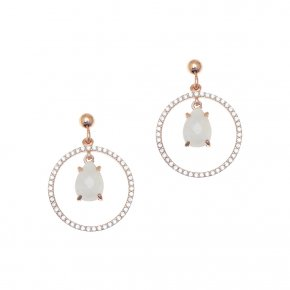 Earrings silver 925 pink gold plated & with moonstone and white zirconia - Nymfes