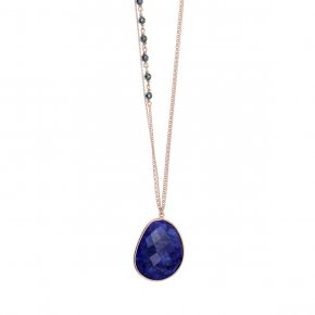 Necklace silver 925 pink gold plated & with hematite and treated sapphire - Petra