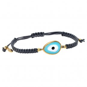 Bracelet silver 925 gold plated & with enamel evil eye with cord - Mati