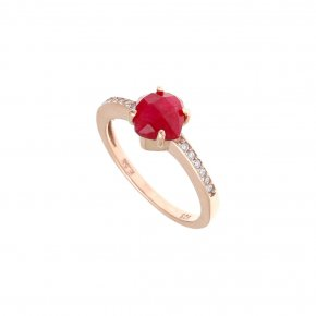 Ring silver 925 pink gold plated & with treated ruby and white zirconia - Nymfes