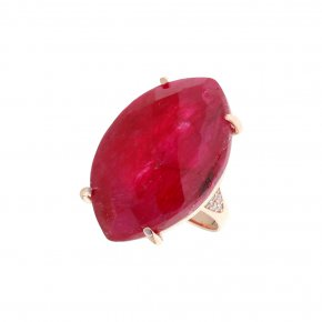 Ring silver 925 pink gold plated & with treated ruby and white zirconia - Color Me