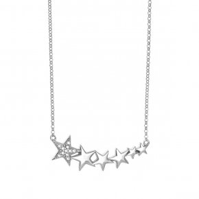 Necklace silver 925 rhodium plated & with zirconia - Emfasis