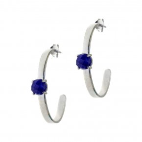 Earrings silver 925 rhodium plated & with treated sapphire - Aura