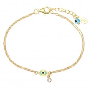 Bracelet silver 925 gold plated & with enamel, evil eye and white zircon - Wish Luck