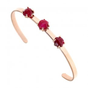Bracelet silver 925 pink gold plated & with treated ruby - Aura