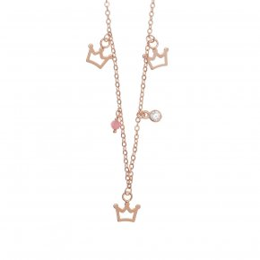 Necklace silver 925 pink gold plated & with white zirconia - Symbola