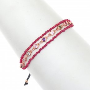 Bracelet metal pink gold plated with synth.stones and cord - Aigaio
