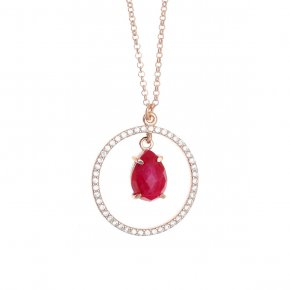 Necklace silver 925 pink gold plated & with treated ruby and white zirconia - Nymfes